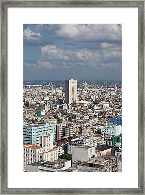 Cuba, Havana, Vedado, Elevated View Framed Print