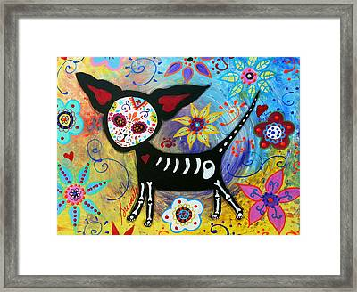 Day Of The Dead Chihuahua Framed Print by Pristine Cartera Turkus