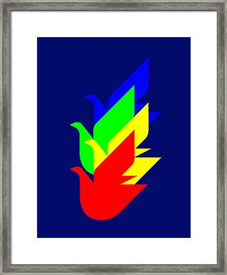 4 Doves To Unicef Geneva Framed Print by Asbjorn Lonvig