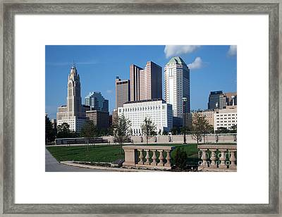 Downtown Skyline Of Columbus Framed Print by Bill Cobb