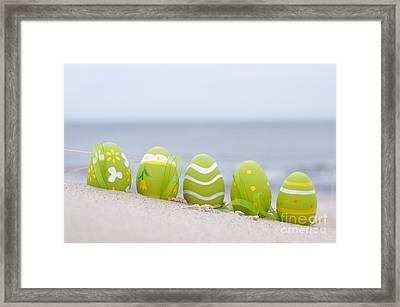 Easter Decorated Eggs On Sand Framed Print by Michal Bednarek