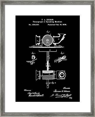 Edison Phonograph Patent 1878 - Black Framed Print