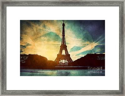 Eiffel Tower In Paris Fance In Retro Style Framed Print by Michal Bednarek