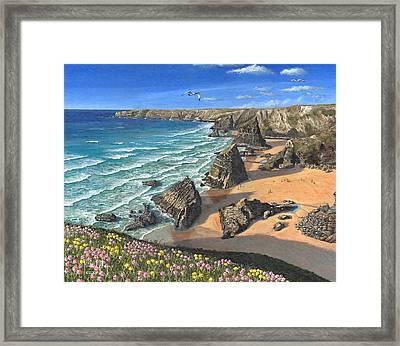 Evening Light Bedruthan Steps Cornwall Framed Print by Richard Harpum
