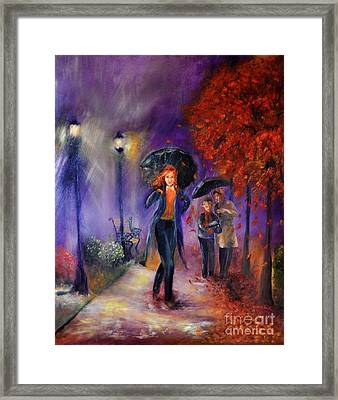 Evening Walk Framed Print by Sandra Aguirre