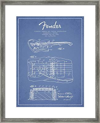 Fender Floating Tremolo Patent Drawing From 1961 - Light Blue Framed Print