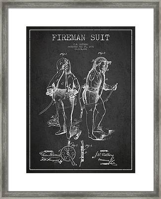 Fireman Suit Patent Drawing From 1826 Framed Print