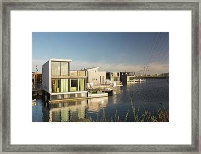 Floating House In Amsterdam Framed Print by Ashley Cooper