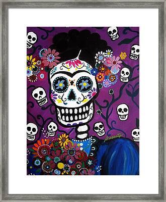 Framed Print featuring the painting Frida Dia De Los Muertos by Pristine Cartera Turkus