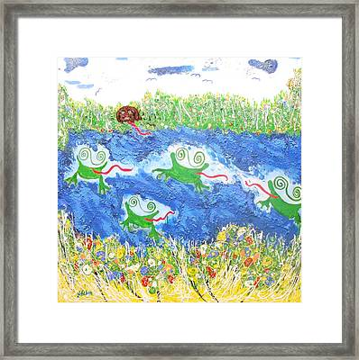 4 Frogs And A Bear Framed Print