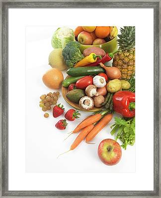Fruit And Vegetables Framed Print by Tek Image