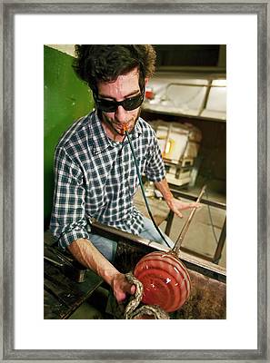 Glass Blowing Framed Print by Jim West