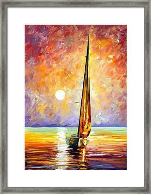 Gold Sail Framed Print by Leonid Afremov