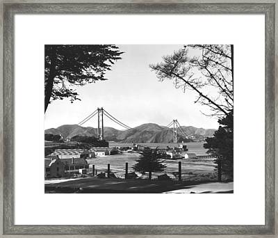Golden Gate Bridge Work Framed Print by Underwood Archives