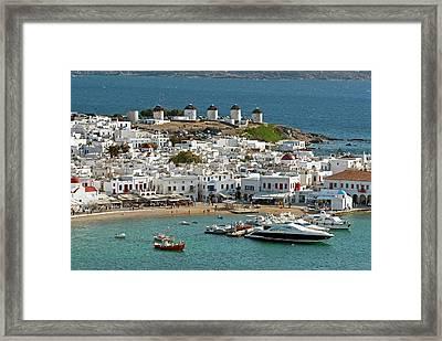 Greece, Mykonos, Chora Framed Print