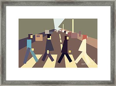 4 Guys Crossing Abbey Road Framed Print