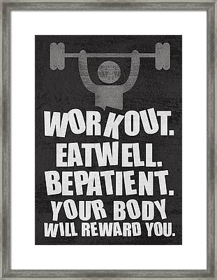 Gym Motivational Quotes Poster Framed Print