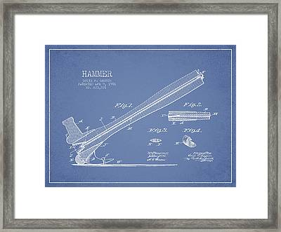 Hammer Patent Drawing From 1901 Framed Print