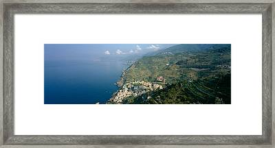 High Angle View Of A Village Framed Print