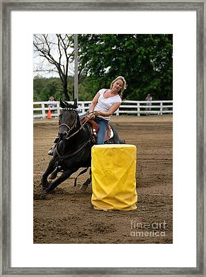 Horse And Rider In Barrel Race Framed Print by Amy Cicconi