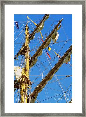 I Thought I Saw Three Sailing Ships Three Sailing Ships Early In The Morn N Framed Print by Michael Hoard