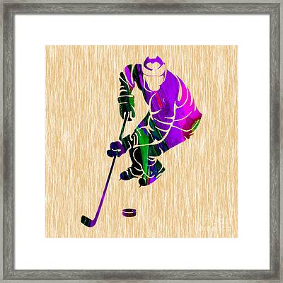 Ice Hockey Framed Print by Marvin Blaine