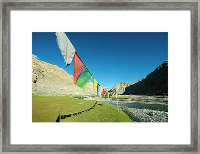 India, Ladakh, Markha Valley, Scenic Framed Print by Anthony Asael