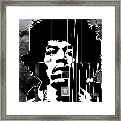 Jimi Hendrix Typography Framed Print