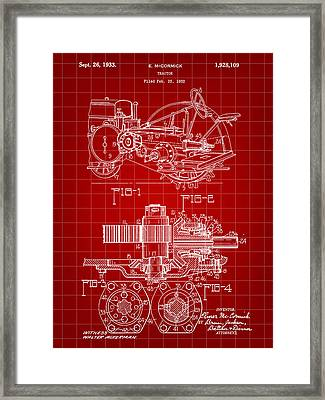 John Deere Tractor Patent 1932 - Red Framed Print by Stephen Younts