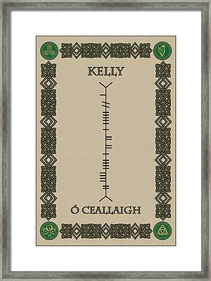 Framed Print featuring the digital art Kelly Written In Ogham by Ireland Calling