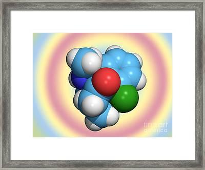 Ketamine Molecule, Recreational Drug Framed Print by Dr. Tim Evans