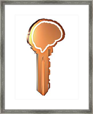 Key With Brain Shape Framed Print