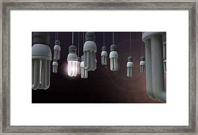 Leadership Hanging Lightbulb Framed Print