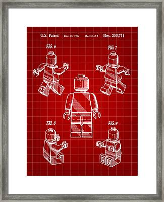 Lego Figure Patent 1979 - Red Framed Print
