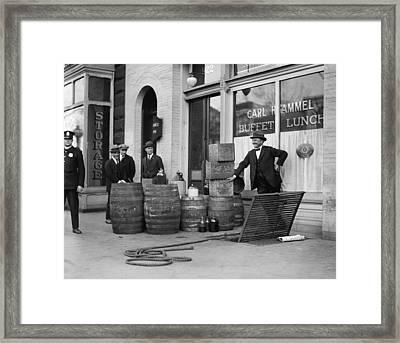 Liquor Raid, 1923 Framed Print