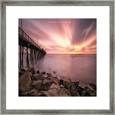 Long Exposure Sunset At The Oceanside Framed Print by Larry Marshall