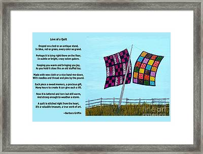 Love Of A Quilt Framed Print by Barbara Griffin
