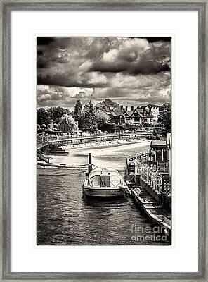 Marlow Weir As Seen From Marlow Suspension Bridge  Framed Print