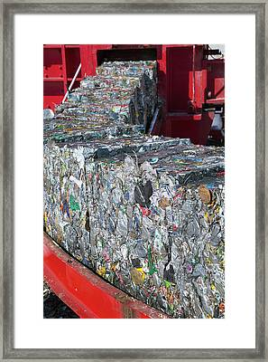 Metal Cans At A Recycling Centre Framed Print by Peter Menzel