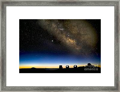 Milky Way And Observatories, Hawaii Framed Print