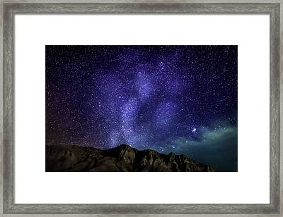 Milky Way Galaxy With Aurora Borealis Framed Print