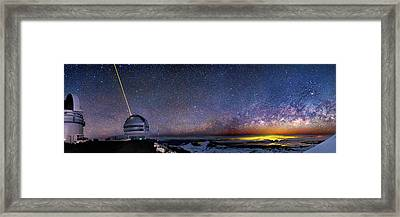 Milky Way Over Telescopes On Hawaii Framed Print by Walter Pacholka, Astropics