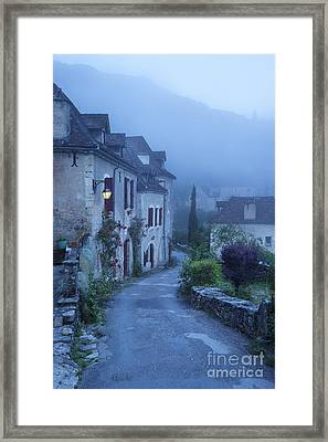 Misty Dawn In Saint Cirq Lapopie Framed Print by Brian Jannsen
