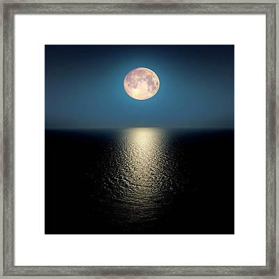 Moon Over The Ocean Framed Print by Detlev Van Ravenswaay