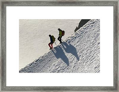 Mountaineering In The French Alps Framed Print by Duncan Shaw