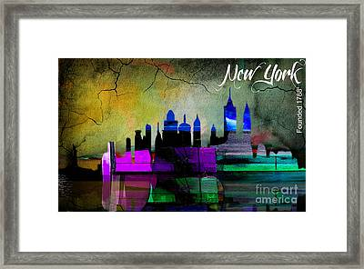 New York Skyline Watercolor Framed Print by Marvin Blaine
