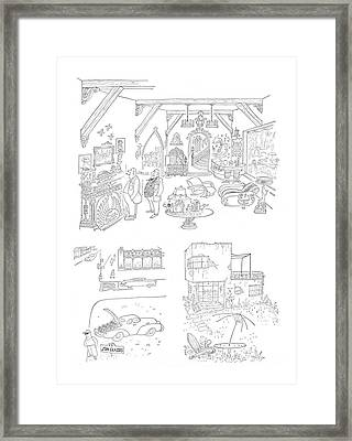 New Yorker January 27th, 1951 Framed Print by Saul Steinberg