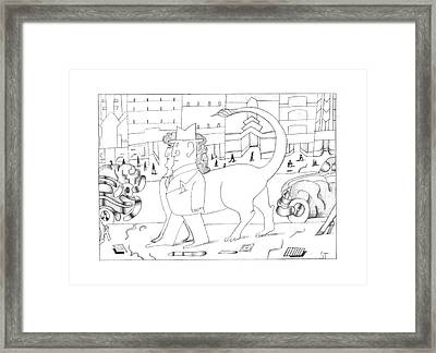 New Yorker March 14th, 1994 Framed Print by Saul Steinberg