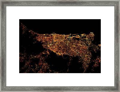 Night Time Satellite Image Framed Print
