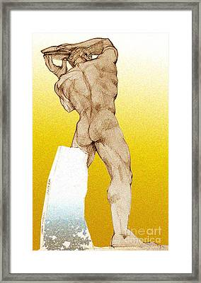 Framed Print featuring the drawing Olympic Athletics Discus Throw by Greta Corens